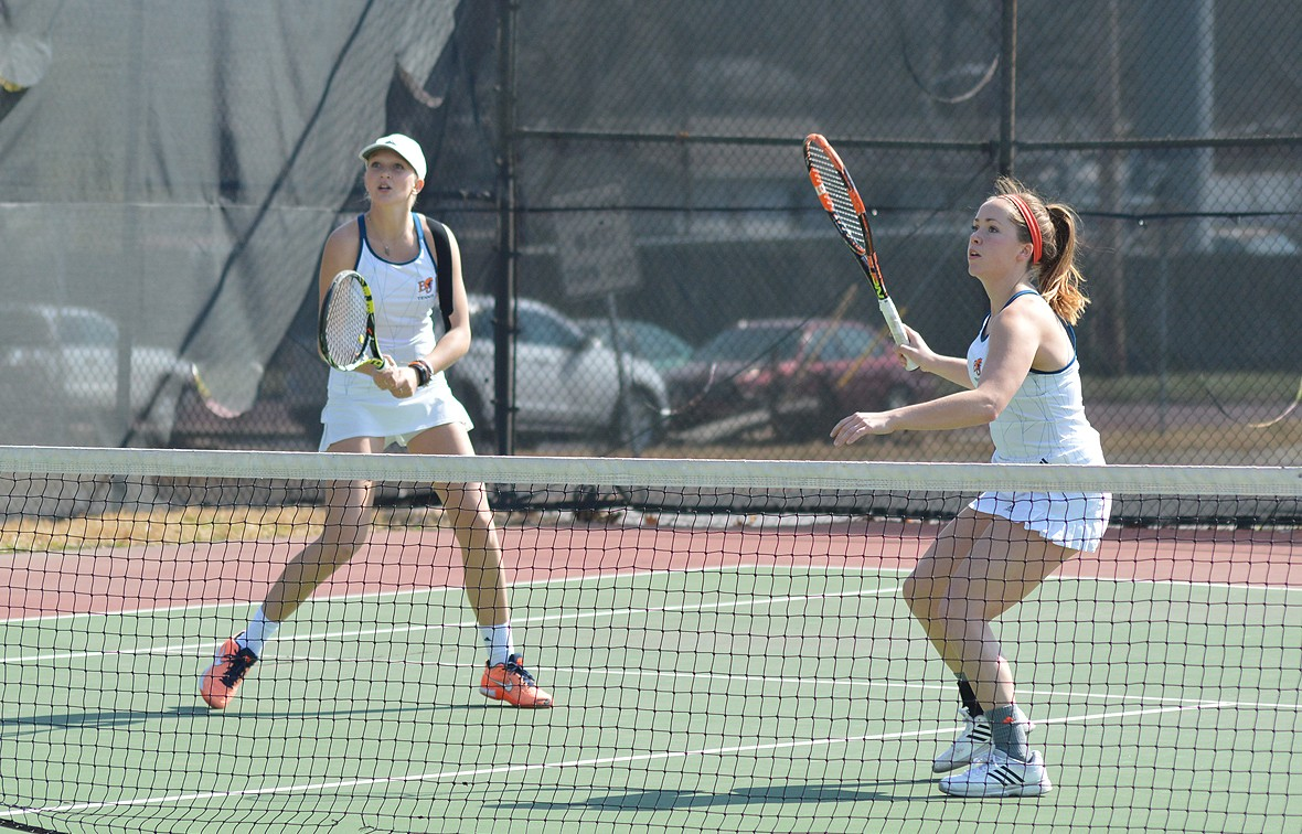 Morgan Francis (left) and Holly Chestnut (right) picked up a doubles win on Wednesday